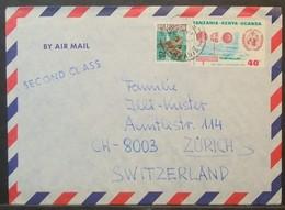 Tanzania - Cover To Switzerland 1973 Fauna Fish Hippocampus WMO Wind Anemometer Meteorology - Tansania (1964-...)