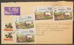Tanzania - Cover To England Fauna FAO Farming Food Day - Tansania (1964-...)