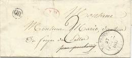 LETTRE 1837 AVEC CACHET LE FAOUET ET CACHET OR ( GUISCRIFF) - 1801-1848: Precursori XIX