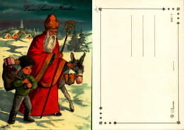Vive Saint Nicolas -superbe Illustration De Jeanne LAGARDE  - St Nicolas, Ane, Hôte à Cadeaux Portée Par Enfant - Saint-Nicolas