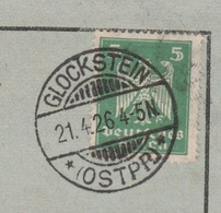 Deutsches Reich Karte Mit Tagesstempel Glockstein 1926 Ostpreussen Lk Rößel RB Allenstein Ostpreussen - Storia Postale