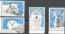 ROMANIA, 2020, MNH,POLAR FAUNA, BIRDS, OWLS, WOLVES, FOXES, RABBITS, 4v - Owls