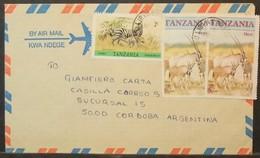 Tanzania - Cover To Argentina 1987 Fauna Zebra Orix Lybia Street - Tansania (1964-...)