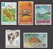 Seychelles - 1974 - 1976 Fisherman, Marine Life Soldier Fish, Praslin Grand Anse Map, Piper Navajo, First Landing - Used - Seychellen (1976-...)