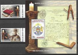 ROMANIA, 2020, MNH, THE GRAND LODGE OF ROMANIA, FREEMASONRY, 2v+S/SHEET - Franc-Maçonnerie