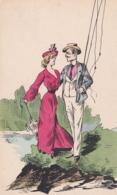 CPA Fantaisie - Couple - Femme Avec Ombrelle - Monsieur Canne à Pêche  (lot Pat 113/2) - Paare