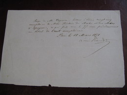 """PIECE SIGNEE DE LOUIS VIARDOT 1851 TRADUCTEUR CRITIQUE FONDATEUR """"REVUE INDEPENDANTE"""" SAND LEROUX SOCIALISME à PAGNERRE - Autographes"""