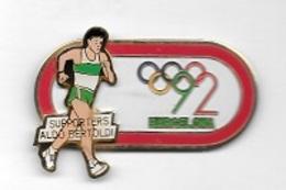 Pin's Double Moule, 2 Attaches,Pays, Ville, Sports J.O  BARCELONA  1992, SUPPORTERS  ALDO  BERTOLDI - Jeux Olympiques