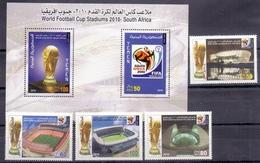 2010 Republic Of Yemen FIFA World Cup Stadiums Complete Set 4 Stamps + Souvenir Sheets MNH - Jemen