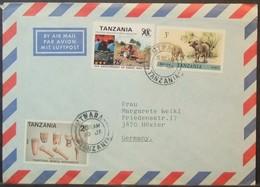 Tanzania - Cover To England 1990 Musical Intrument Tractor Industry Fauna Mtwara - Tansania (1964-...)
