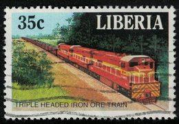 Liberia 1988 Oblitéré Used Triple Headed Iron Ore Train Locomotive à Trois Têtes Transport Minerai De Fer SU - Liberia