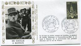 """FRANCE ENVELOPPE ILLUSTREE """"DE GAULLE A BAYEUX"""" AVEC OBL. ILL. XXXXe ANNIVERSAIRE DE LA LIBERATION BAYEUX 14 Et 15/06/84 - De Gaulle (General)"""