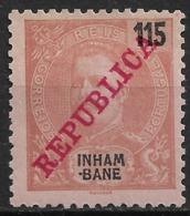Inhambane – 1911 King Carlos Overprinted REPUBLICA 115 Réis Mint Stamp - Inhambane