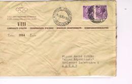 NATATION -  ENVELOPPE A EN-TËTE - VIII ème CHAMPIONNATS D'EUROPE DE 1954 A TURIN - - Natation