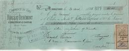 Lettre Change 20/4/1883 BURGEAT DEREMONT  Vins Liqueurs Eaux De Vie  DOULEVANT Haute Marne Pour Dommartin Le Franc - Bills Of Exchange