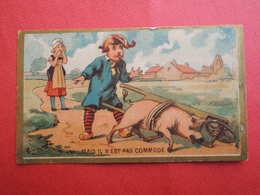 CHROMO  Imp: LAAS. Vente D'un Cochon. Fermière. Brouette.Acheter Normand. Normandie.Mais Il N'est Pas Commode - Unclassified