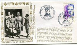 """FRANCE ENVELOPPE ILLUSTREE """"L'APPEL 50e ANNIVERSAIRE"""" AVEC OBL. ILL. PUTEAUX 28 JUIN 1990 - De Gaulle (General)"""