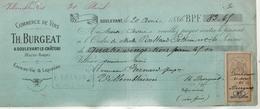 Lettre Change 20/4/1886 BURGEAT  Vins Liqueurs Eaux De Vie  DOULEVANT Haute Marne Pour Ville En Blaisois - Bills Of Exchange