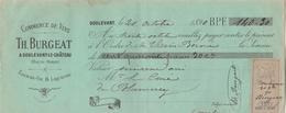 Lettre Change 20/10/1890 BURGEAT  Vins Liqueurs Eaux De Vie  DOULEVANT Haute Marne Pour Curé De Blumeray - Bills Of Exchange