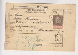 AUSTRIA CZECH REPUBLIC 1893 HOHENMAUTH VYSOKE MYTO Parcel Card - 1850-1918 Impero