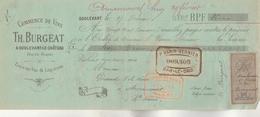 Lettre Change 17/2/1892 BURGEAT  Vins Liqueurs Eaux De Vie  DOULEVANT Haute Marne Pour Amancourt - Bills Of Exchange