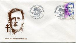 "FRANCE ENVELOPPE ILLUSTREE ""CHARLES DE GAULLE (1890-1970)"" AVEC OBL. ILLUSTREE CONVENTIONS GAULLISTES DE 1990 LENS...... - De Gaulle (General)"