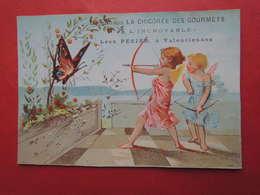 Joli CHROMO  Imp. Laas. Chicorée Des Gourmets.  Anges. Angelots. Chasse Au Papillon. Arc Et Flèches. - Unclassified