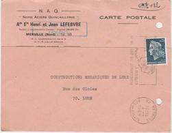 Carte Commerciale 1969 / Henri & Jean LEFEBVRE / NAQ Nord Aciers Quincaillerie / 59 Merville Nord / Flamme Béthune - Mapas