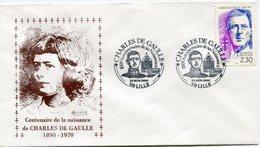 """FRANCE ENVELOPPE ILLUSTREE """"CENTENAIRE DE LA NAISSANCE DE CHARLES DE GAULLE 1890-1970"""" AVEC OBL. ILLUSTREE LILLE........ - De Gaulle (General)"""