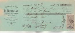 Lettre Change 22/9/1892 BURGEAT  Vins Liqueurs Eaux De Vie  DOULEVANT Haute Marne Pour Colombey - Bills Of Exchange