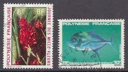 Polynesie Francaise - 1971 - 1983 - Flora, Day Of Thousand Flowers, Alpinia Purpurata, Fish, Caranx Melampygus - Used - Frans-Polynesië