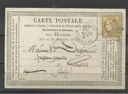 étoiles De Paris : étoile N°36 Sur Carte Précurseur Bt Voltaire - 1849-1876: Classic Period
