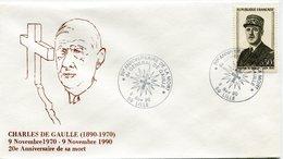 """FRANCE ENVELOPPE ILLUSTREE """"CHARLES DE GAULLE (1890-1970) 9 NOVEMBRE 1890 - 9 NOVEMBRE 1990 20e ANNIVERSAIRE DE SA MORT"""" - De Gaulle (General)"""