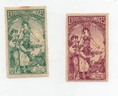 Erinnophilie Vignette Exposition De Limoges Mai-Septembre 1903 2 Vignettes) - Erinnophilie