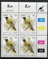 Ciskei Mi# 56 Zylinderblock Postfrisch/MNH Controls - Fauna Oriole - Transkei