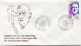 """FRANCE ENVELOPPE ILLUSTREE """"CHARLES DE GAULLE (1890-1970) 12 NOVEMBRE 1890 - 12 NOVEMBRE 1990 20e ANNIVERSAIRE DES...... - De Gaulle (General)"""