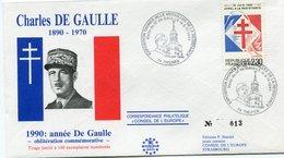 "FRANCE ENVELOPPE ILLUSTREE N°013 ""CHARLES DE GAULLE 1890-1970  1990  ANNEE DE GAULLE..."" AVEC OBL. ILL. THONES 18-06-90 - De Gaulle (General)"