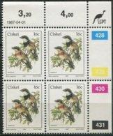 Ciskei Mi# 114 Zylinderblock Postfrisch/MNH Controls - Fauna Batis - Transkei