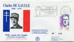 "FRANCE ENVELOPPE ILLUSTREE N°013 ""CHARLES DE GAULLE 1890-1970  1990  ANNEE DE GAULLE..."" AVEC OBL. ILL. FONTENAY LE..... - De Gaulle (General)"