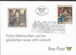 Austria Ersttag CHRISTKINDL 26.11.1993 Card Karte - 1945-.... 2. Republik