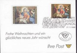 Austria Ersttag CHRISTKINDL 27.11.1992 Card Karte - 1945-.... 2. Republik