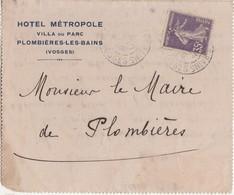 Carte 1915 Hôtel Métropole Plombières 88 Vosges / Pour Mairie /Contestation Tarif Octroi Et Prix Eau / Blangy Val D'Ajol - Other