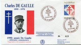 "FRANCE ENVELOPPE ILLUSTREE N°013 ""CHARLES DE GAULLE 1890-1970  1990  ANNEE DE GAULLE.."" AVEC OBL. ILL. ST MANDE 18-06-90 - De Gaulle (General)"