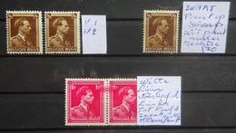 BELGIE 1936    Nr. 427  3 X Variëteit  + Nr.  428 In Paar Met Variëteit - Zie Foto - Belgium