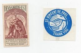 Erinnophilie Vignette S. Vicente De Paulo St Vincent De Paul  (2 Vignettes) - Erinnophilie