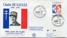 "FRANCE ENVELOPPE ILLUSTREE N°013 ""CHARLES DE GAULLE 1890-1970  1990  ANNEE DE GAULLE.."" AVEC OBL. ILL. CHATELAILLON..... - De Gaulle (General)"