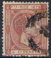 Sello 5 Cts Alfonso XII, Colonia Española PUERTO RICO 1879, Num 23 º - Puerto Rico