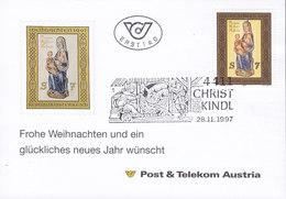 Austria Ersttag Post & Telecom CHRISTKINDL 28.11.1997 Card Karte - 1945-.... 2. Republik