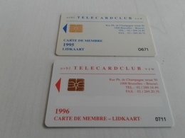 Belgium - 2 Magnetic Membership Cards Telecard Club - Zonder Classificatie
