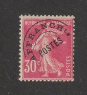 59 De 1922-47 - Préoblitéré  -  30c Rose  . Type Semeuse - Voir Les 2 Scannes - Préoblitérés